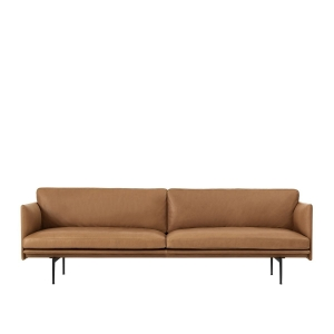 OUTLINE SOFA SILK LEATHER 220cm COGNAC MUUTO