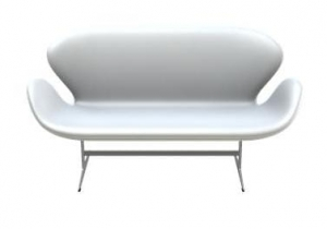 Sofa SWAN 3321 FRITZ HANSEN tapicerka OPTICAL WHITE LEATHER