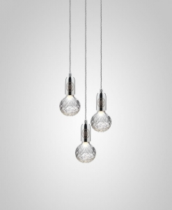 Frosted Crystal Bulb & Pendant Chrome Lee Broom
